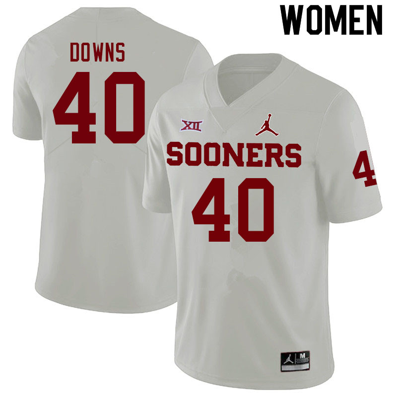 Women #40 Ethan Downs Oklahoma Sooners College Football Jerseys Sale-White